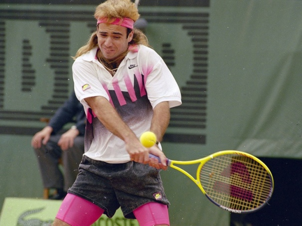 Tennis star Andre Agassi is seen in action, 1990. (AP Photo)